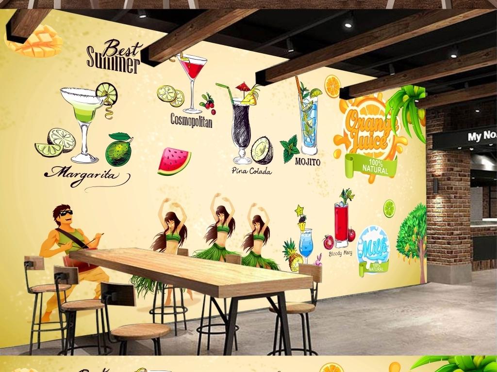 大型手绘高清饮料奶茶背景墙