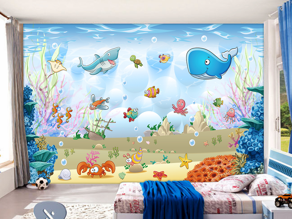 我图网提供精品流行3D卡通海底动物儿童房壁画背景墙素材下载,作品模板源文件可以编辑替换,设计作品简介: 3D卡通海底动物儿童房壁画背景墙 位图, RGB格式高清大图,使用软件为 Photoshop CC(.psd) 3D儿童房 小孩房