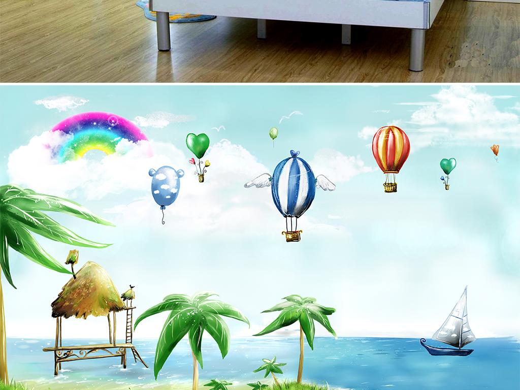 帆船蓝天白云                                  儿童房油画手绘