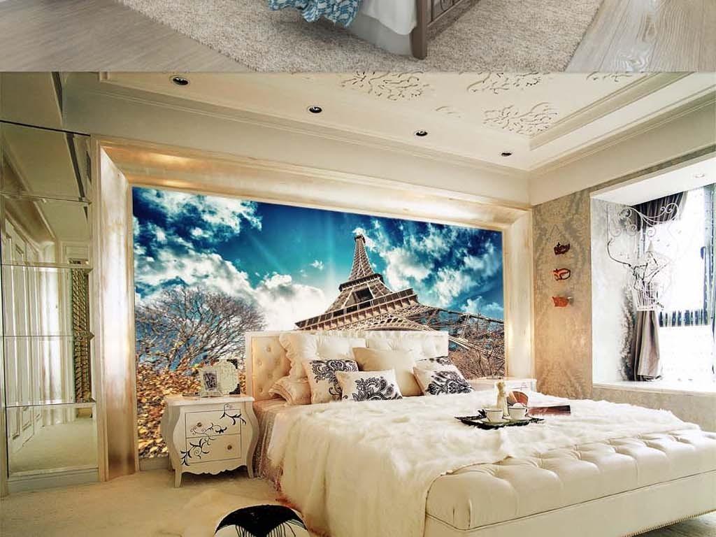静物风景抽象现代简约式埃菲尔铁塔巴黎铁塔铁塔蓝天