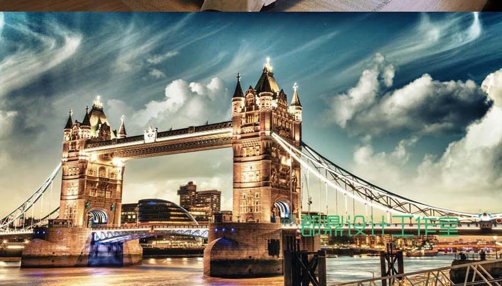 背景墙|装饰画 电视背景墙 电视背景墙 > 巨幅英国伦敦塔桥建筑风景背