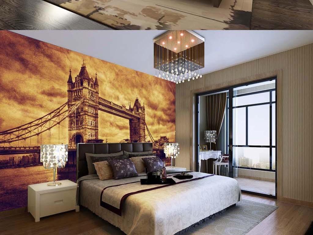 巨幅复古怀旧风景摄影英国伦敦塔桥背景墙