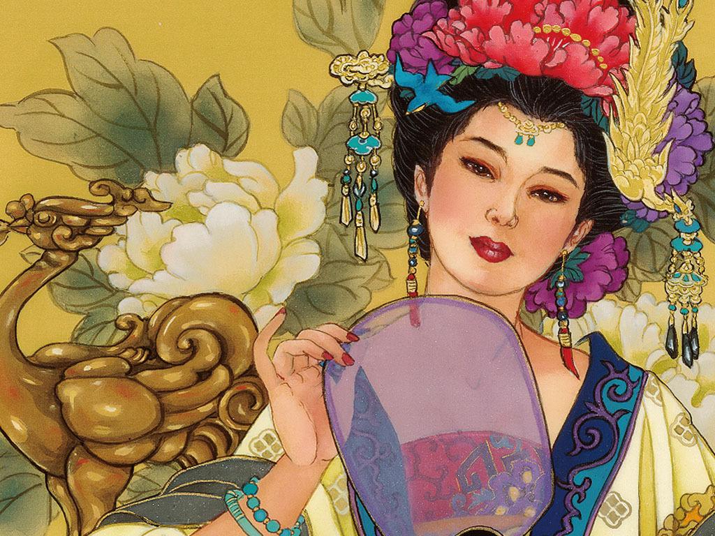 国画工笔人物仕女牡丹古典