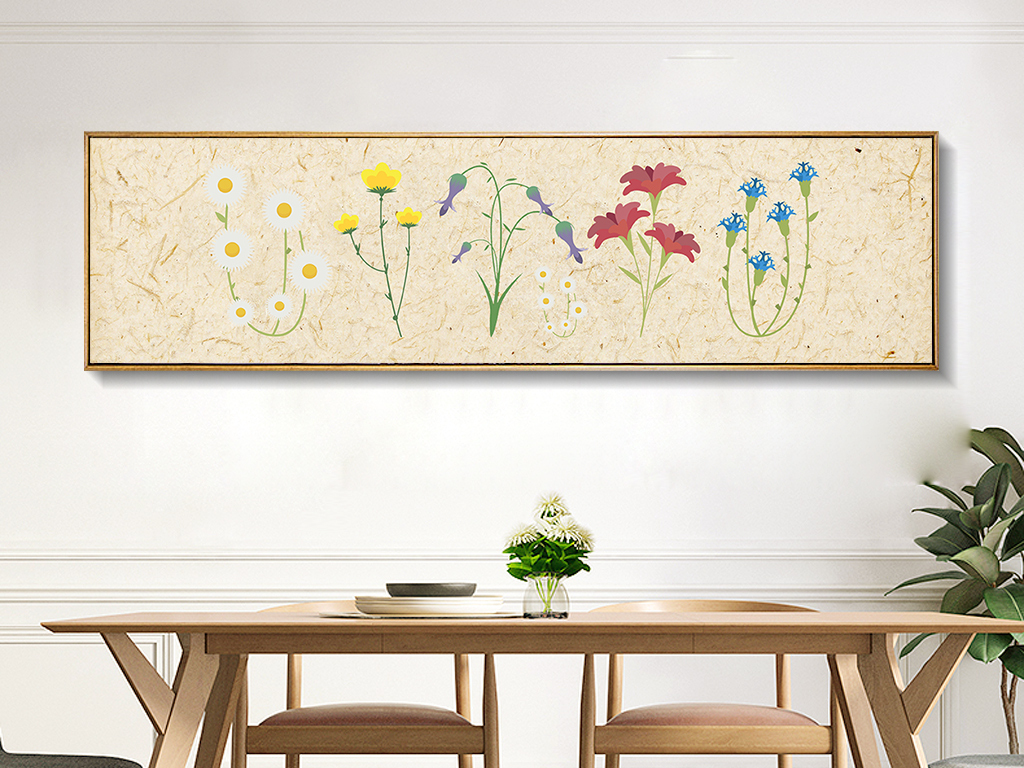 小清新花卉手绘装饰画无框画