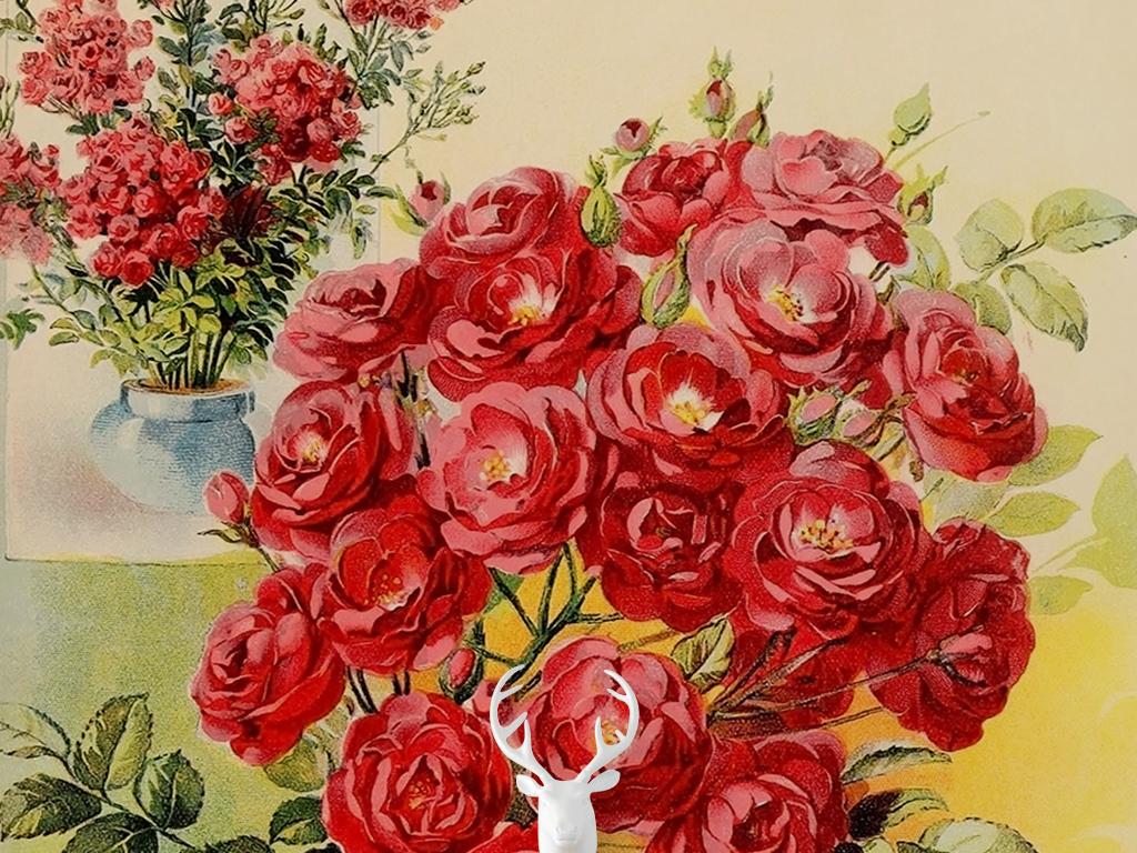 欧式复古简约玫瑰花苞小碎花油画玄关过道图片