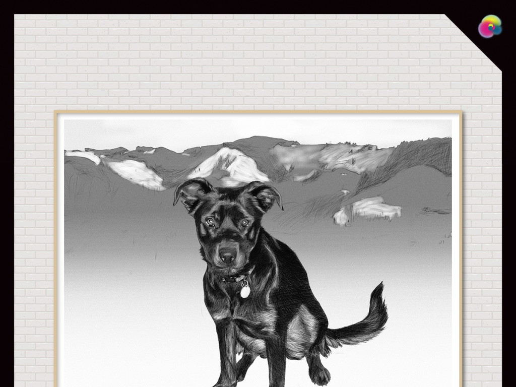 背景墙|装饰画 无框画 动物图案无框画 > 北欧手绘复古小狗写实素描插