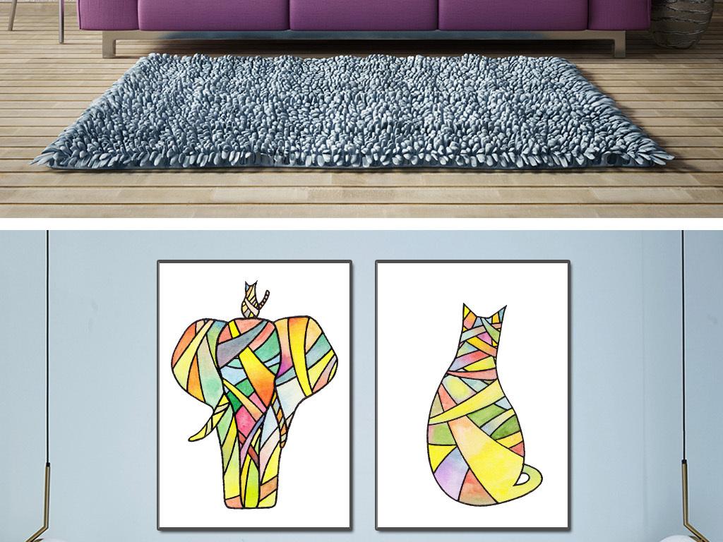 背景墙|装饰画 无框画 动物图案无框画 > 水彩画现代简约线条装饰画