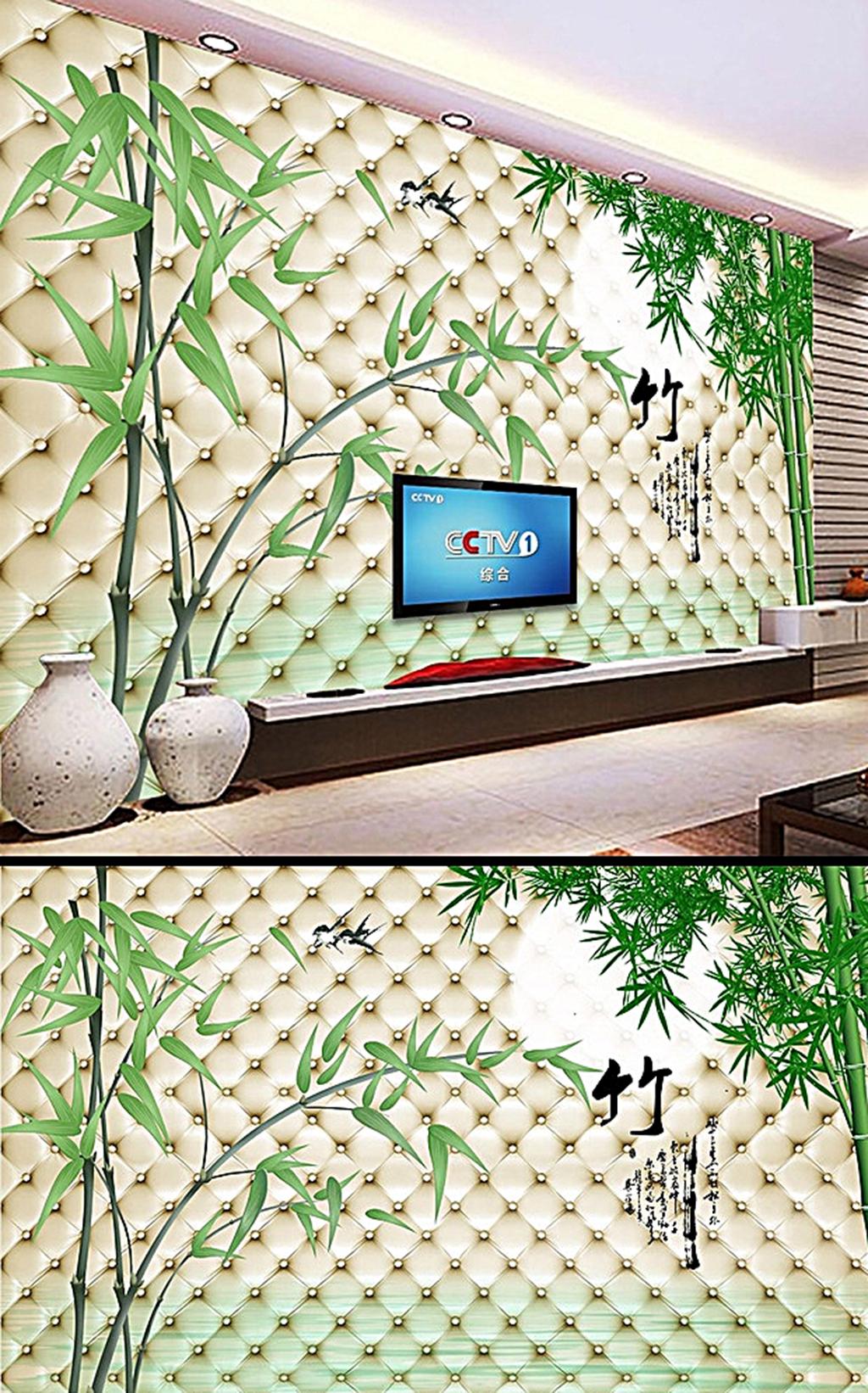 竹报平安梦幻手绘竹子电视背景墙