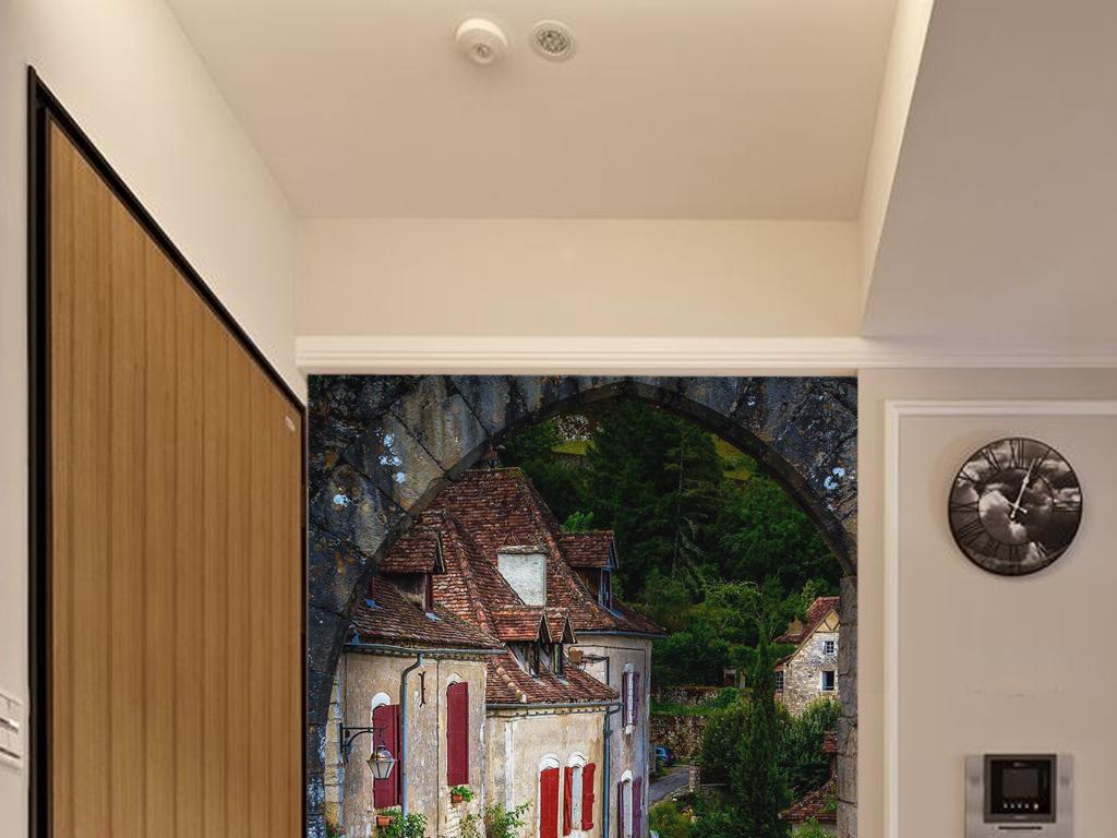风景门洞效果图拱形门洞欧式门洞古建筑门洞中式门洞