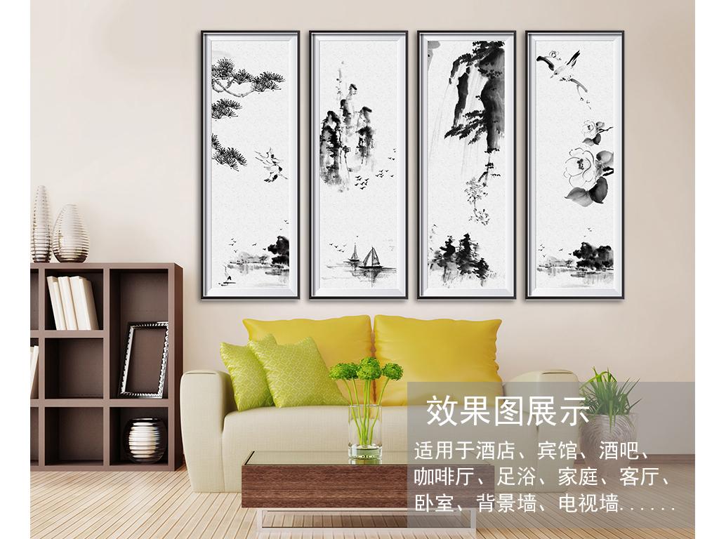 玄关挂画壁画墙纸高清写意意境素雅高雅中式中式背景水墨背景水墨装饰图片