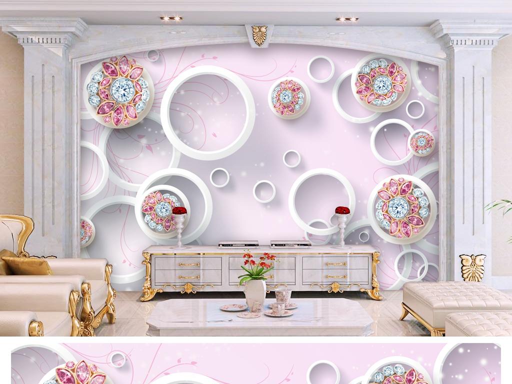 3d轻奢欧式花纹红宝石花朵电视背景墙图片