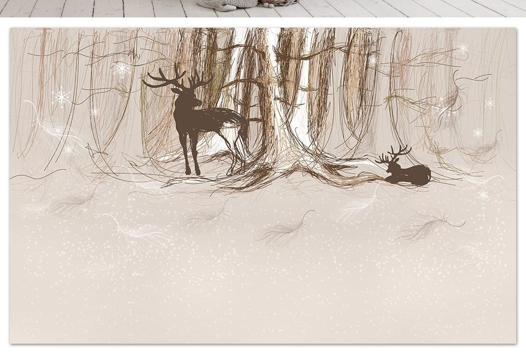 线条北欧背景森林背景卡通小鹿小鹿卡通小鹿图片小鹿绘画森林小鹿手绘