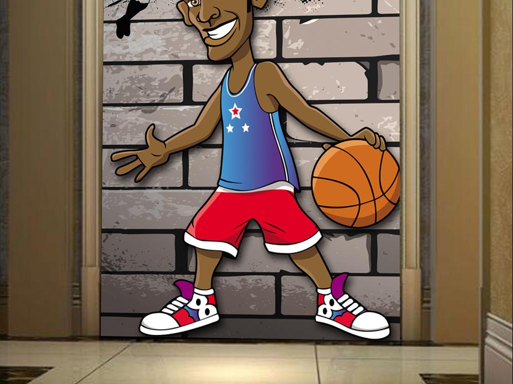 壁纸现代3d立体木板墙壁怀旧复古砖墙破旧墙壁欧美涂鸦篮球