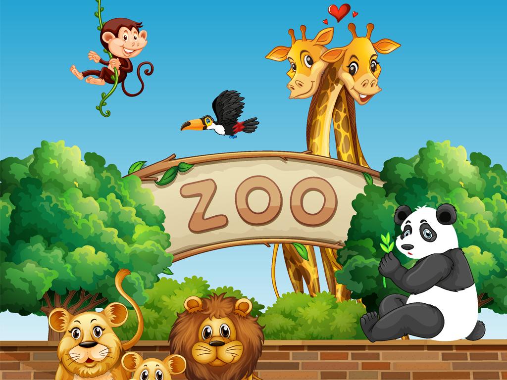 矢量卡通动物园动物插画壁纸墙纸壁画
