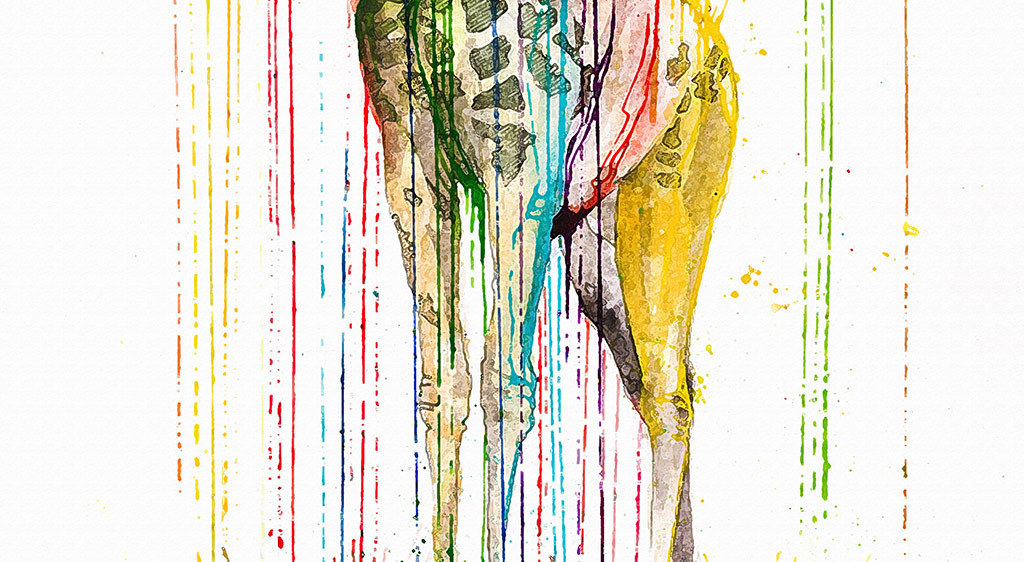 创意手绘长颈鹿水墨无框画