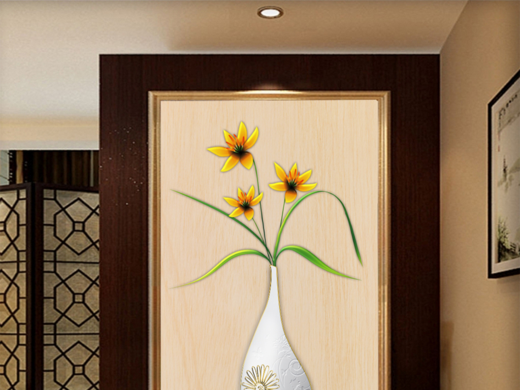 木板背景米黄色米黄色背景花瓶玄关花瓶玄关背景墙欧式