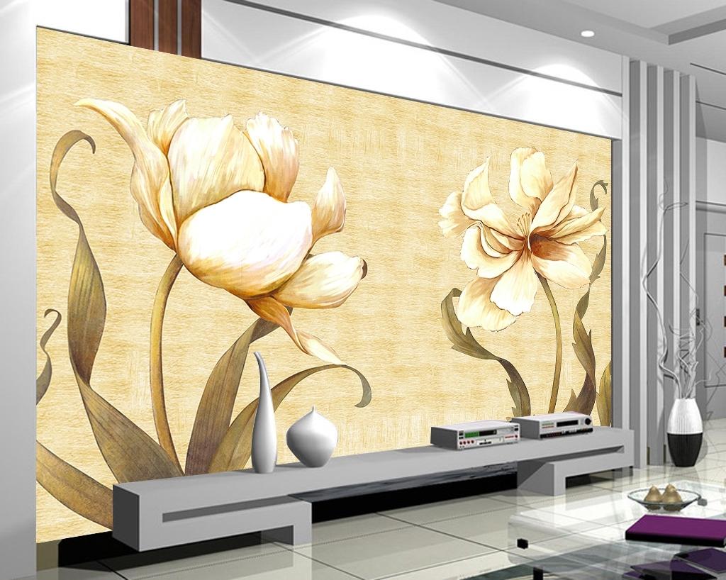 复古油画花卉手绘背景墙