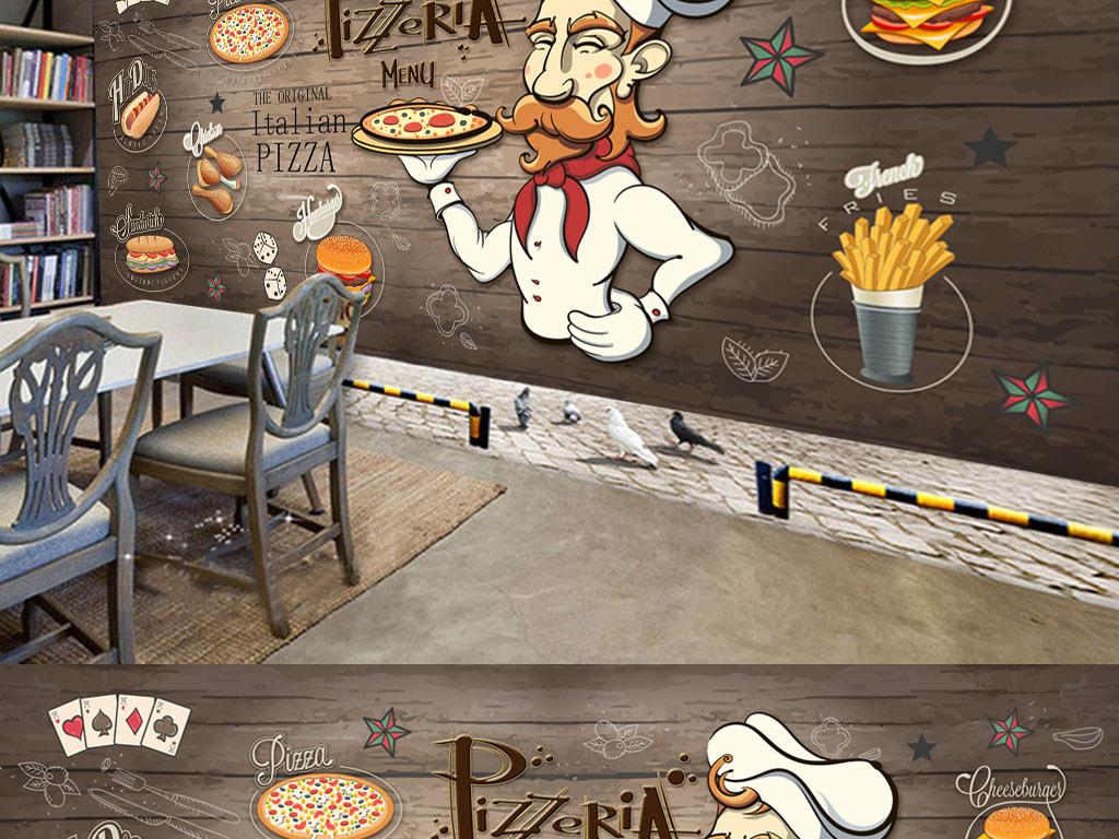 餐厅快餐店背景墙手绘厨师汉堡乳酪pizza甜品