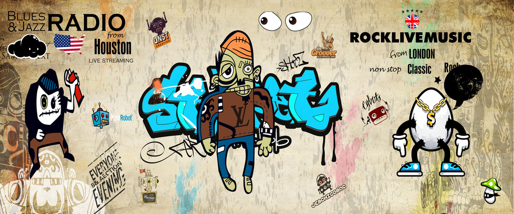 个性涂鸦复古怀旧抽象人物背景墙