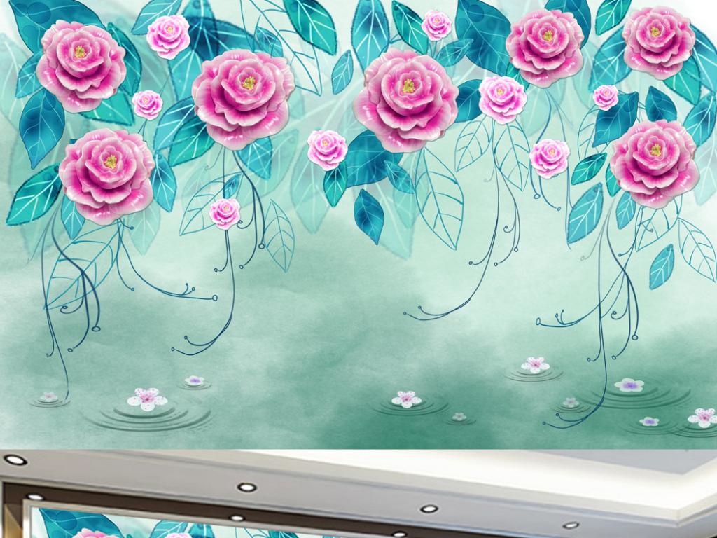 玫瑰花电视背景墙现代浮雕花背景梦幻手绘花藤背景墙唯美小清新地中海