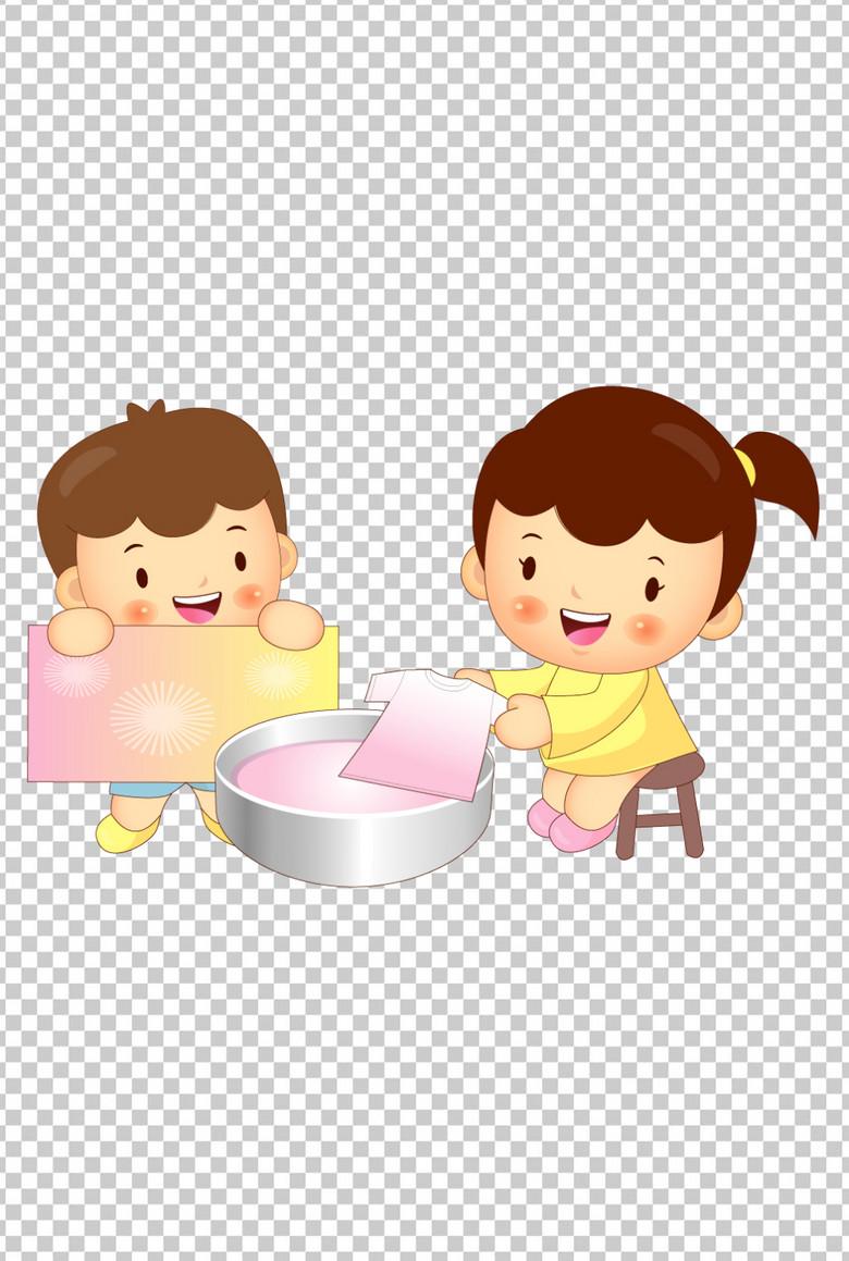 卡通手绘可爱圆脸小女孩洗衣服