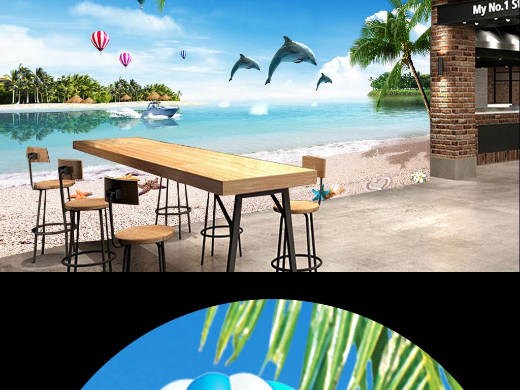 海边沙滩小岛椰树海豚跳水海景背景墙