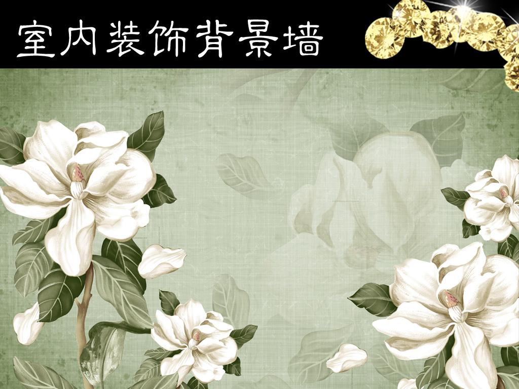 欧式复古手绘油画花卉背景墙