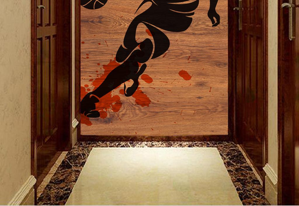 木纹木板背景篮球剪影工装玄关