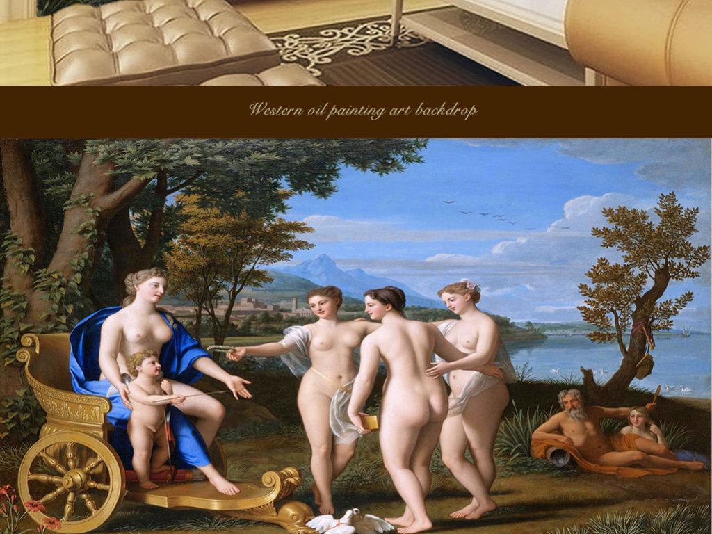 西方油画美惠三女神陪同维纳斯和丘比特