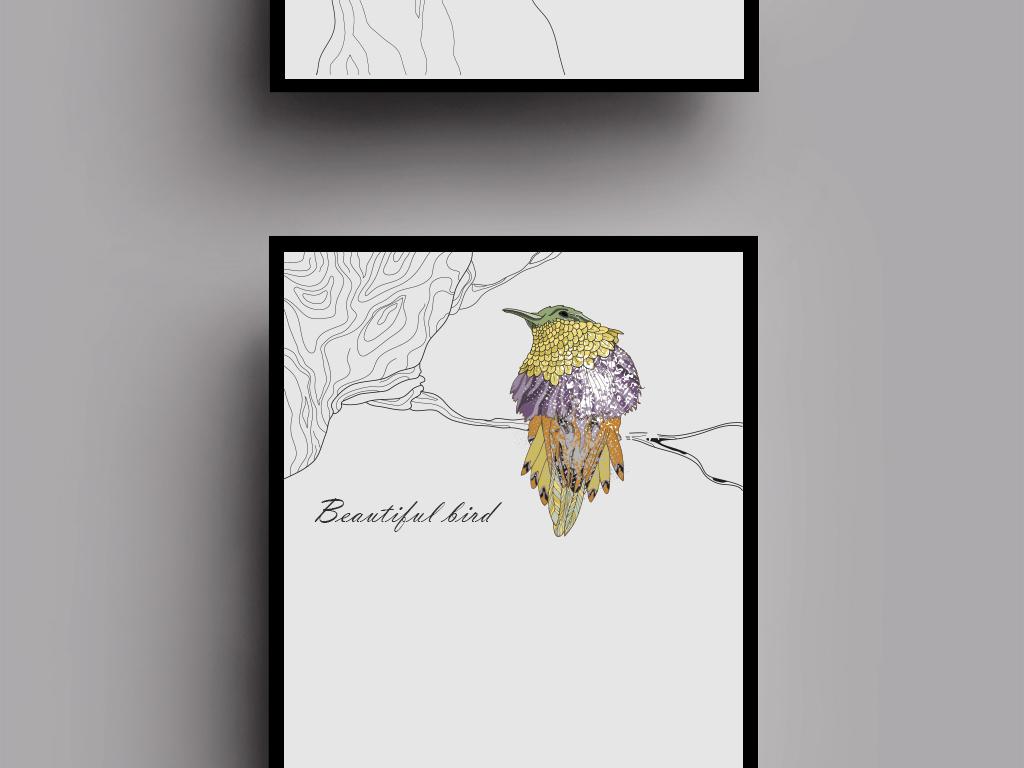 背景墙|装饰画 无框画 动物图案无框画 > 极简风格北欧鸟无框画装饰画