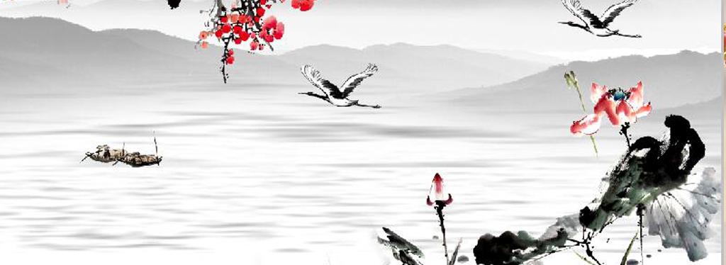 中式红梅荷花水墨画电视背景墙图片