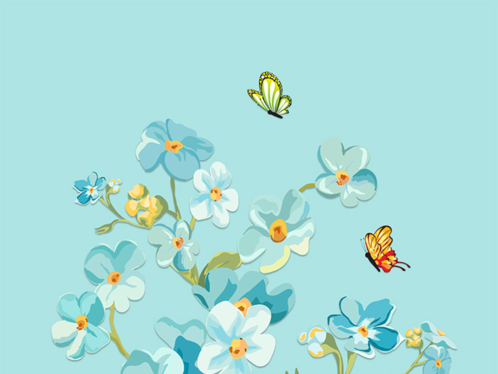 唯美蓝色花瓶手绘美丽花朵玄关背景墙