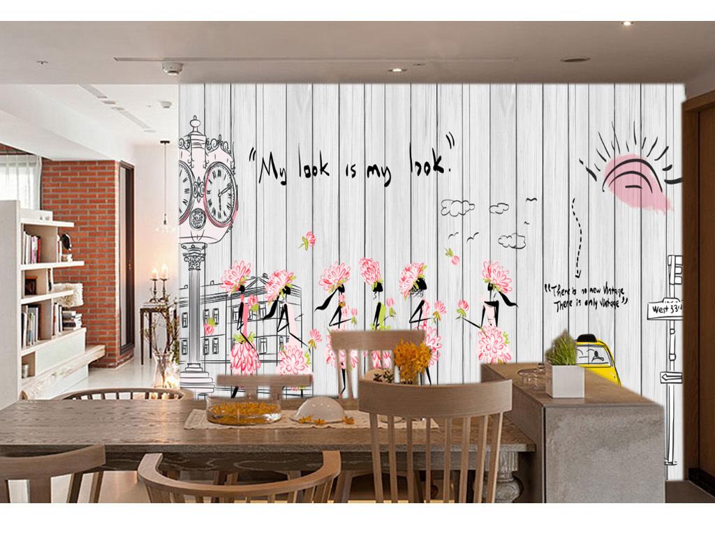 时尚女孩手绘木板咖啡店背景墙壁画