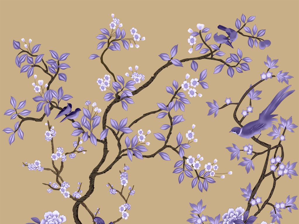 超清手绘工笔花鸟背景墙