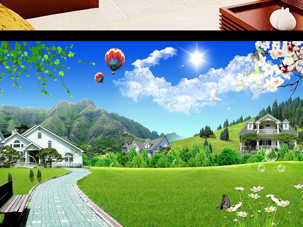 风景画蓝天白云树木花草风景壁画图片