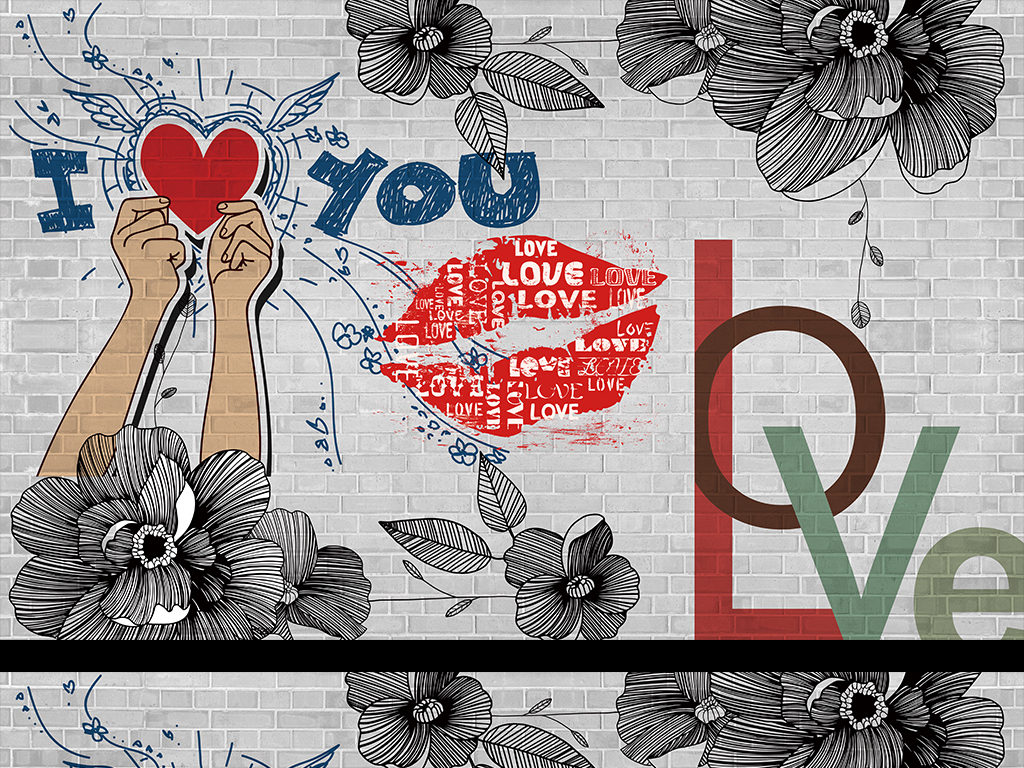 砖墙love爱手绘背景墙