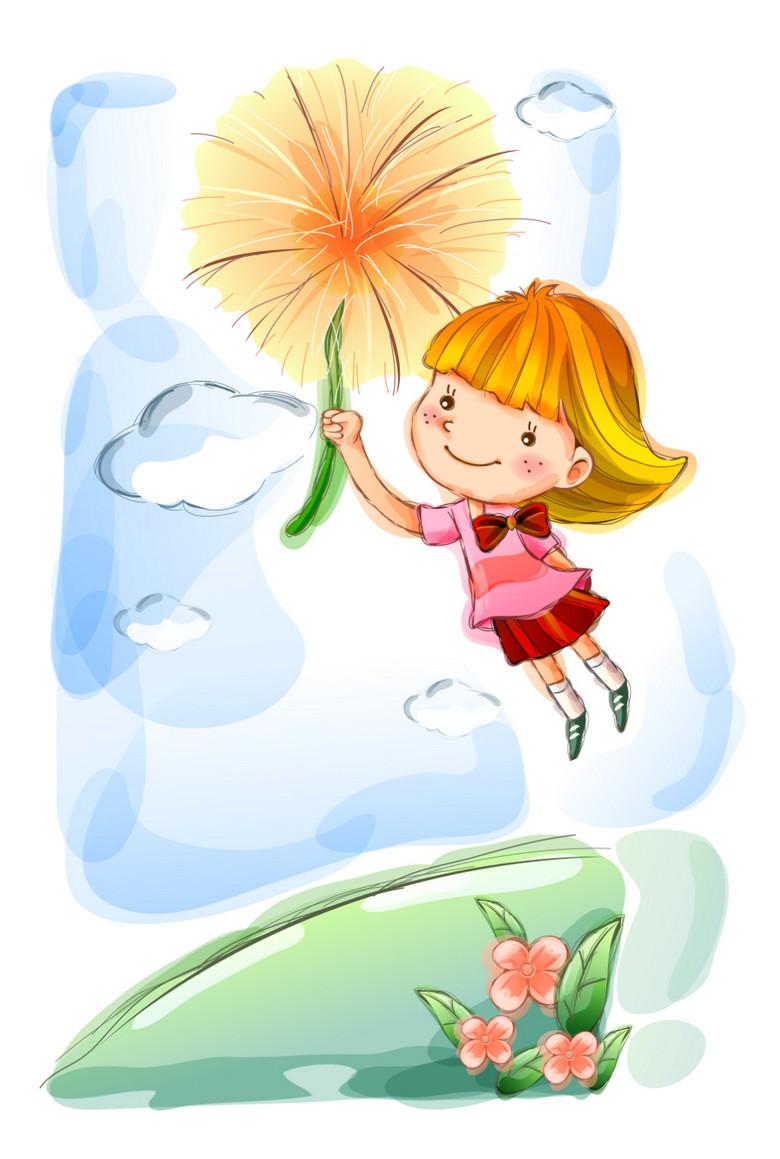 可爱水彩甜美手绘小女孩摘花