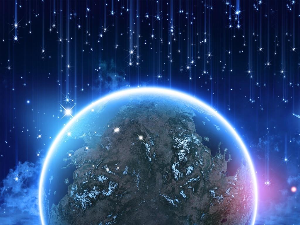 星空美景展板创意地球玄关背景墙