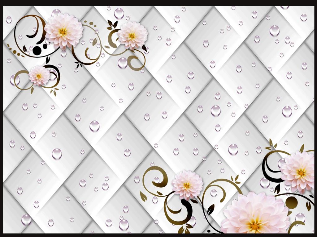 手绘高清psd分层背景墙效果图室内效果图菊花大丽菊花藤白花简约背景