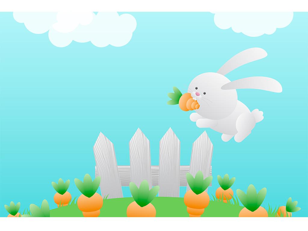 小白兔大萝卜小云朵儿童卡通电视背景墙