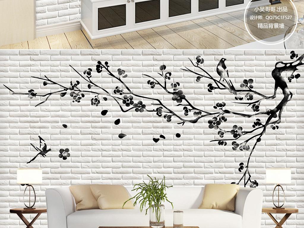 3d白色砖墙手绘花鸟背景墙壁画