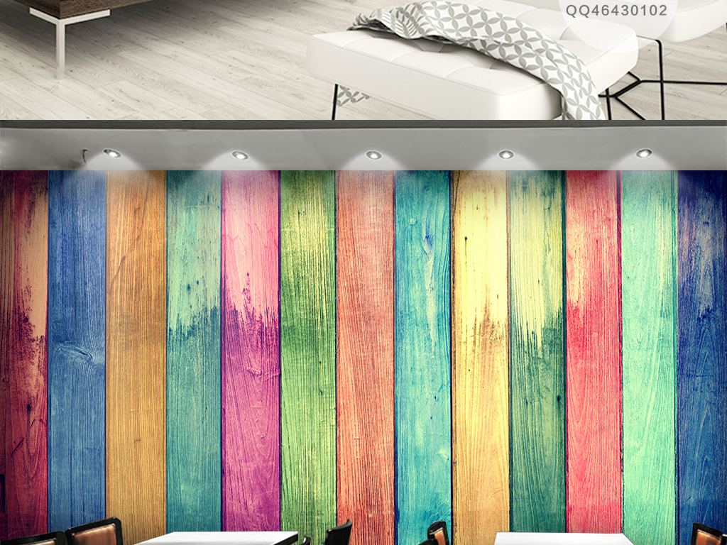 彩色木板纹理背景墙图片