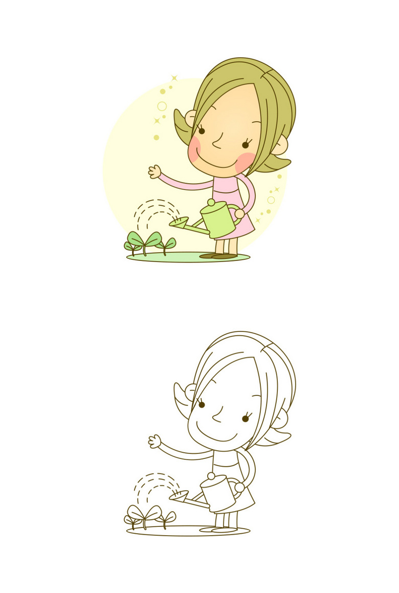 漫画卡通线稿女孩爱护花草图片