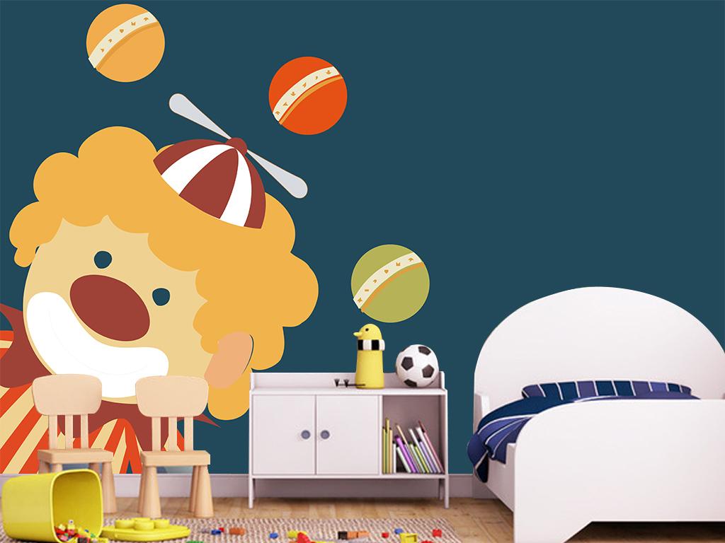 卡通人物动物奏乐乐器乐曲演奏音乐热气球女孩儿童小孩时尚小丑小丑