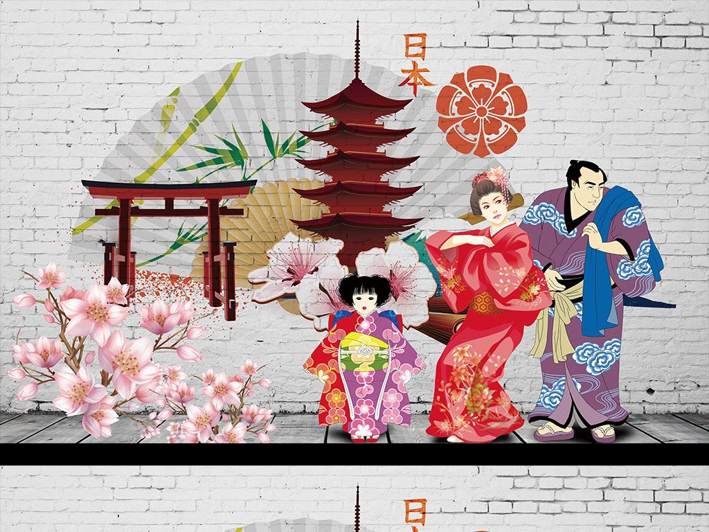 日式风格手绘背景墙
