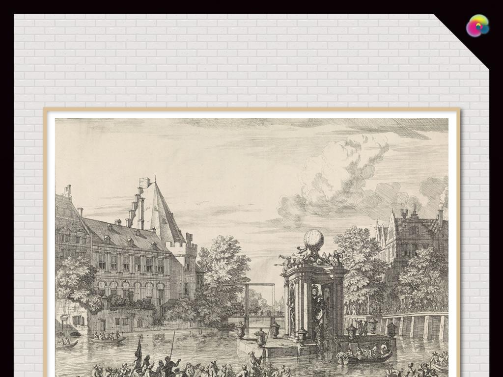 素描手绘风景欧式复古城市建筑背景墙