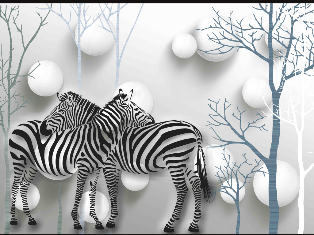 2016-10-20 15:47:54 我图网提供精品流行纯手绘树林斑马3d背景墙素材
