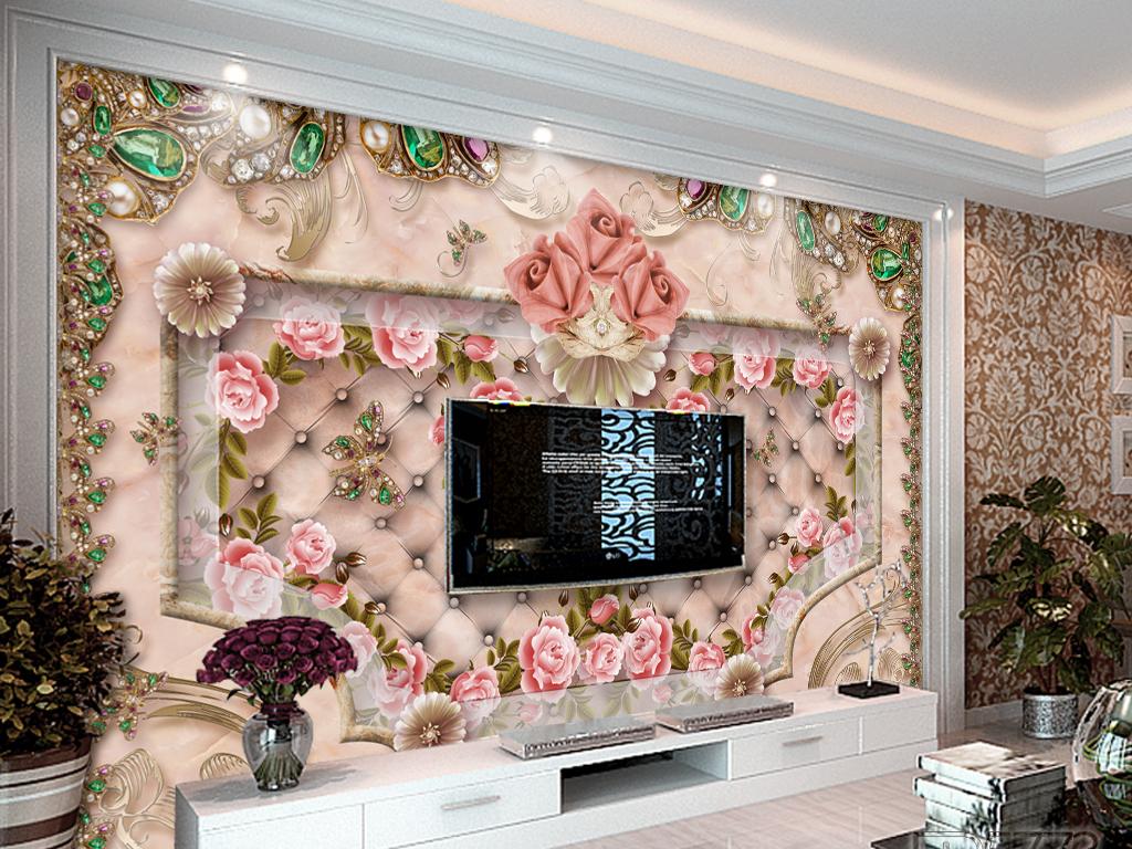 精美大理石珠宝软包电视背景墙