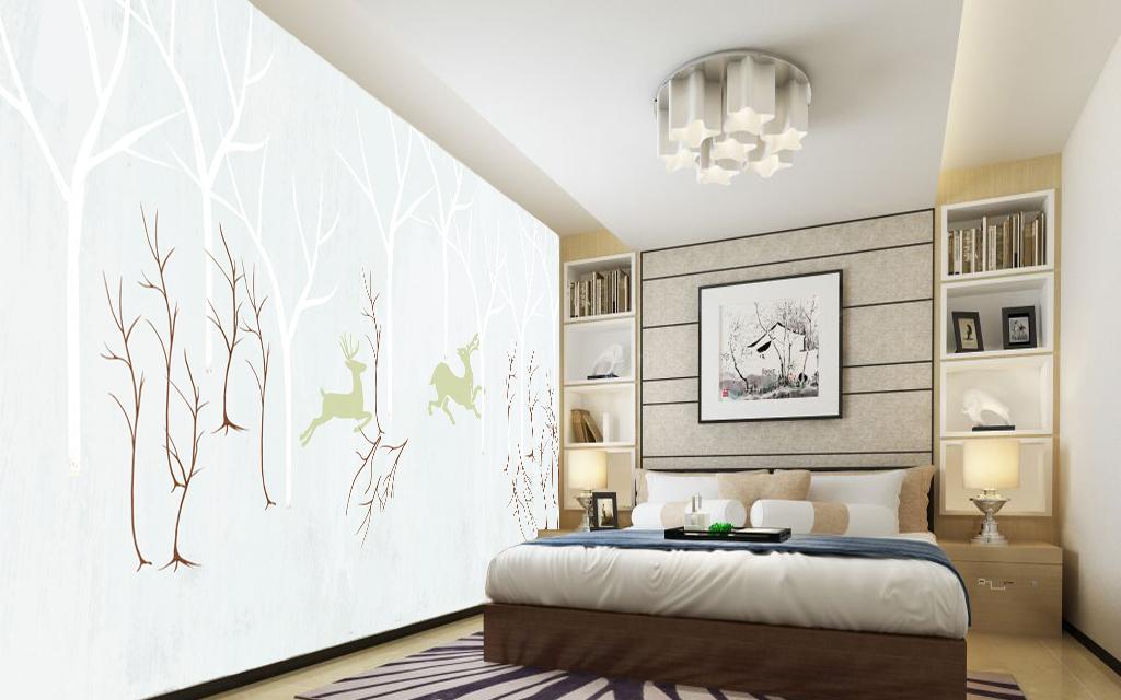 手绘简约北欧电视背景墙(图片编号:15749899)