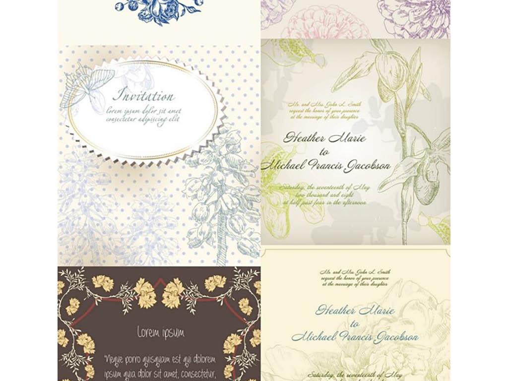 手绘花朵欧式花纹婚礼邀请卡背景矢量素材